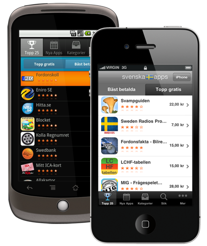 Svenska Apps iPad iPhone Android